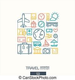 抽象的, 現代, 休日, デザイン, concepts., スタイル, symbols., 概念, 旅行, 休暇, インテグレイテド, 観光事業, 平ら, 線である, 旅行, icons., 接続される, イラスト, 背景, 線, ベクトル, 薄くなりなさい, 夏