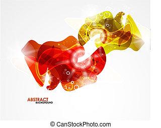 抽象的, 現代, 滑らかである, 形, カラフルである