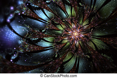 抽象的, 発生する コンピュータ, フラクタル, 花, design., デジタル, アートワーク, ∥ために∥,...