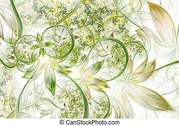 抽象的, 発生する コンピュータ, 植物, フラクタル, design., デジタル, アートワーク, ∥ために∥,...