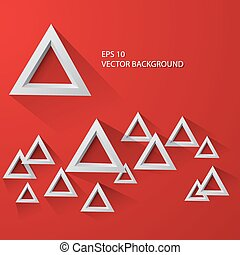 抽象的, 白い三角形, ba, 赤