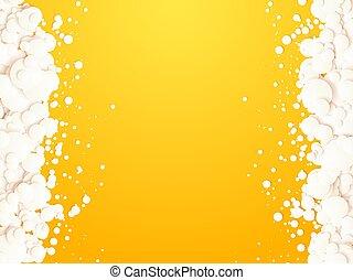 抽象的, 白, 泡, 背景, 黄色