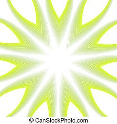 抽象的, 白, 緑, 星, 背景