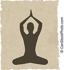 抽象的, 瞑想する, 背景の 人々