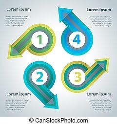 抽象的, 矢, テンプレート, infographics