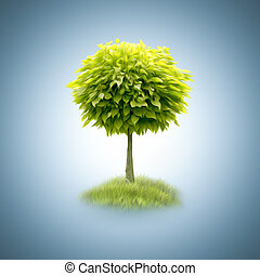 抽象的, 緑の木