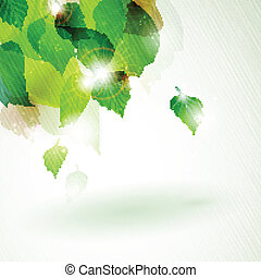 抽象的, 緑の葉群, ∥で∥, ライト, 効果