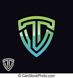 抽象的, 緑, イラスト, 手紙, ベクトル, t, 基づかせている, シンボル, 色