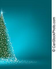 抽象的, 緑, クリスマスツリー, 上に, blue., eps, 8