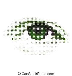 抽象的, 緑, 人間, デジタル, eye., eps, 8