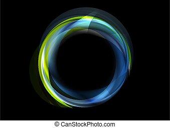 抽象的, 緑, 白熱, 背景, 円, ロゴ, カラフルである, 青
