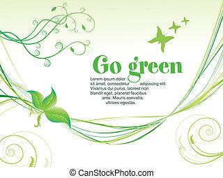 抽象的, 緑, eco, 背景