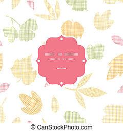 抽象的, 織物, 手ざわり, 秋休暇, フレーム, seamless, パターン, 背景