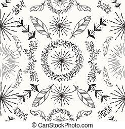抽象的, 羽, そして, 花, seamless, パターン