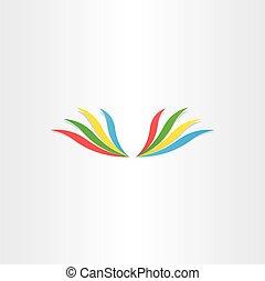 抽象的, 翼, カラフルである, アイコン