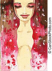 抽象的, 肖像画, 女