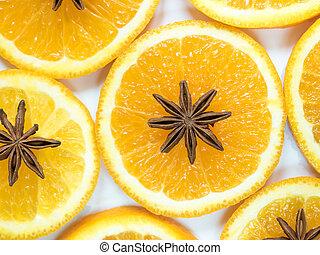 抽象的, 背景, ∥で∥, 柑橘系の果物, の, オレンジ, に薄く切る, そして, 星, anise.
