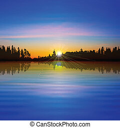 抽象的, 背景, ∥で∥, 森林, 湖