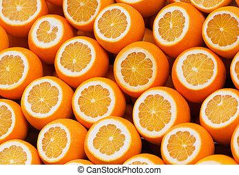 抽象的, 背景, ∥で∥, citrus-fruit, の, オレンジ, slices., クローズアップ