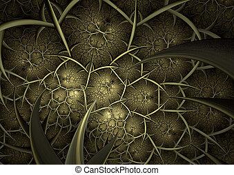 抽象的, 背景, の, フラクタル, 木。, コンピュータによって生成された, image.