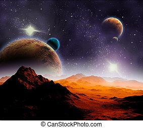 抽象的, 背景, の, 海原, space., 中に, ∥, ずっと, 未来, travel., 新しい, 技術,...