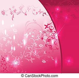 抽象的, 背景, ピンク, 花