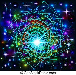 抽象的, 背景, 星, ネオン, 光沢がある