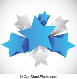 抽象的, 背景, 星, 3d