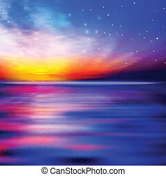 抽象的, 背景, 海, 日の出
