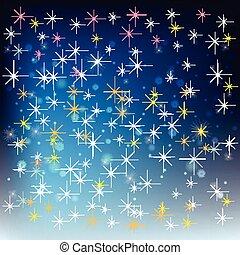 抽象的, 背景, 雪片, 星, 祝福