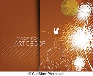 抽象的, 花, デザイン, カード