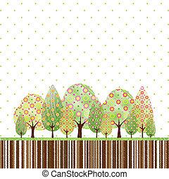 抽象的, 花, 木, 春, カラフルである