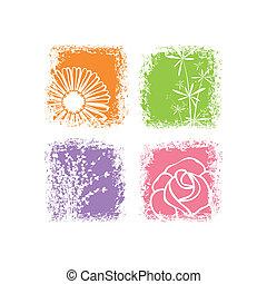 抽象的, 花, 背景, カラフルである, 白