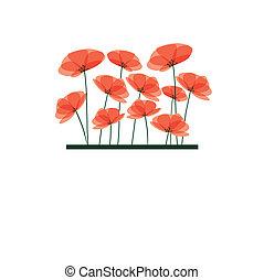 抽象的, 花, 背景, 赤