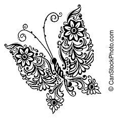抽象的, 蝶, 絵, デザイン, 渦巻, 要素