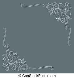 抽象的, 装飾, ベクトル, 花, コーナー, template., カード