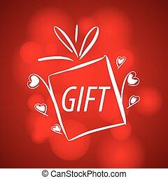 抽象的, 贈り物, ベクトル, 背景, ロゴ, 赤