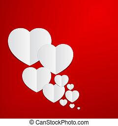 抽象的, 赤い心臓, ペーパー, バックグラウンド。