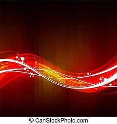 抽象的, 赤い背景, 波