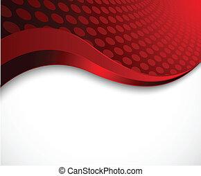 抽象的, 赤, 波状, 背景