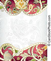抽象的, 赤, 花, フレーム, backgroun