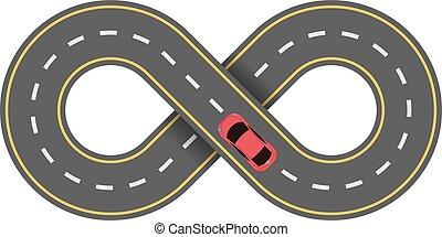 抽象的, 車道, 隔離された, バックグラウンド。, 車。, 道, 白, 漫画, 赤, 無限