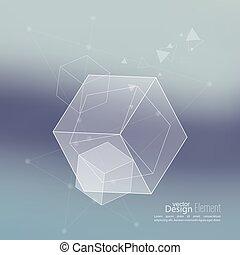 抽象的, 透明, 立方体, 背景, きちんとしている, ぼんやりさせられた