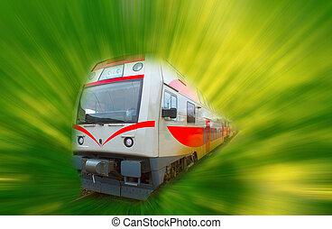 抽象的, 通勤者, スピード, 動き, 高く, ぼやけ, 現代, 列車
