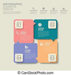 抽象的, 選択, カラフルである, infographics