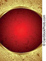 抽象的, 金, そして, 赤, 花, フレーム