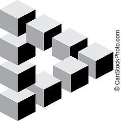 抽象的, 隔離された, 形, 背景, 白, 3d