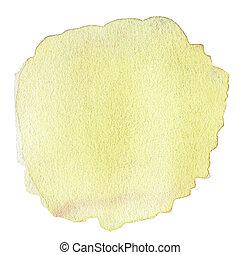 抽象的, 隔離された, 黄色, 水彩画, 背景, 白