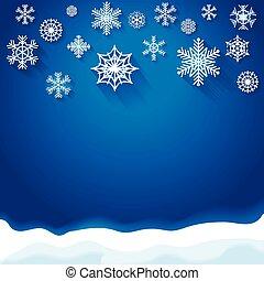 抽象的, 雪片, 背景, クリスマス