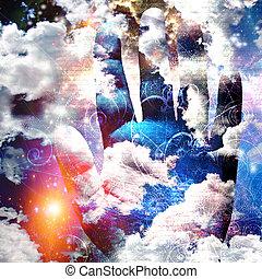 抽象的, 雲, 手